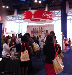 "Coca Cola booth at the Food & Nutrition Expo: ""Lots of choices, calories optional"""