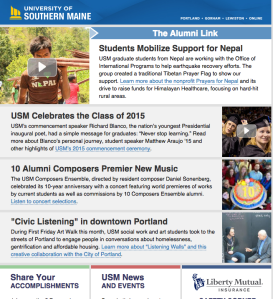 I write USM's monthly Alumni newsletter, which often involves interviewing alums and developing landing pages.